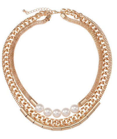 Gold Plated Snakeskin Necklace with Pearl