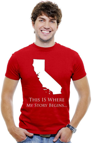 California Men Red T-Shirt...This Is Where My Story Begins