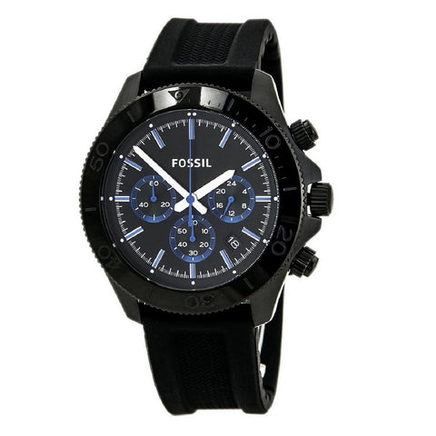 Fossil Retro Traveler Silicone Black Watch for Men