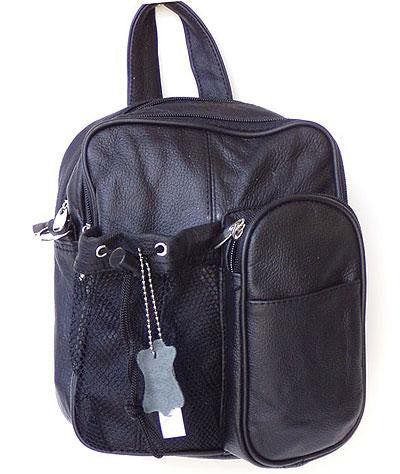 Genuine Leather Black Backpack Crossbody Bag