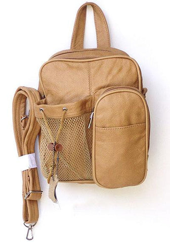 Tan Genuine Leather Backpack Crossbody Bag