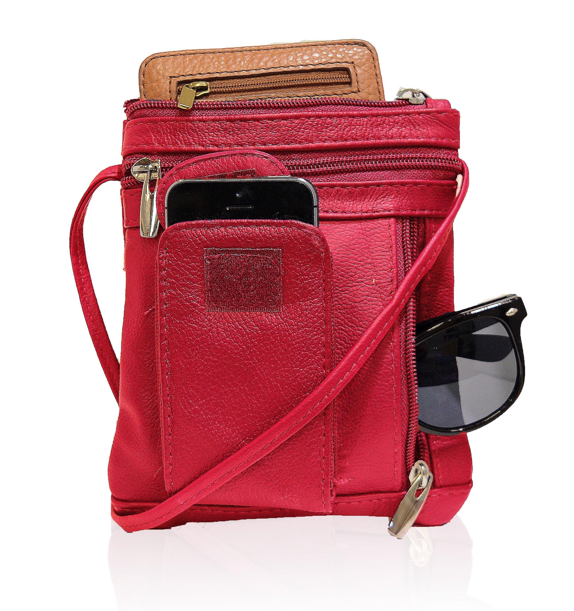 Red CrossBody Leather Bag Mini