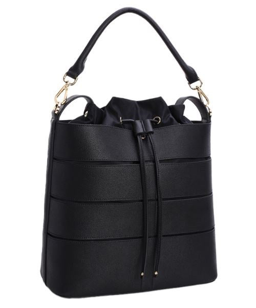 Black Fashion Shoulder Handbag Shaped as Bucket Bags