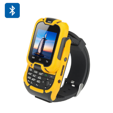 KenXinDa W10 Watch Phone - 1.44 Inch LCD Screen, Bluetooth 3.0, GSM900/1800, Dual SIM, Camera (Yellow)