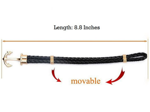 Retro Anchor Leather Bracelet Length