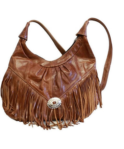 Brown Large Soft Leather Hobo With Fringe