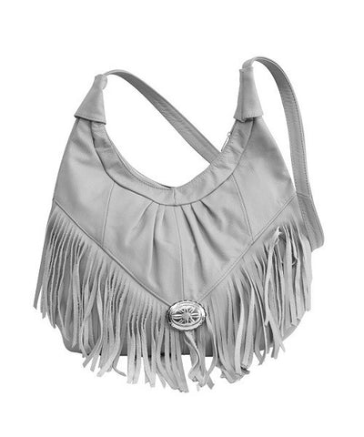 Grey Soft Leather Hobo With Fringe