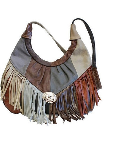 Multicolor Large Soft Leather Hobo With Fringe