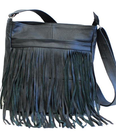 Blue Messenger Fringe Leather Bag