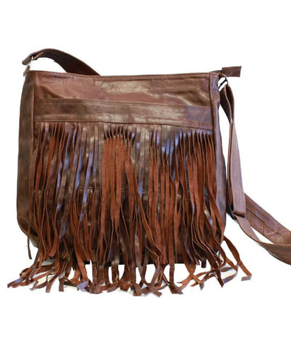 Brown Messenger Fringe Leather Bag