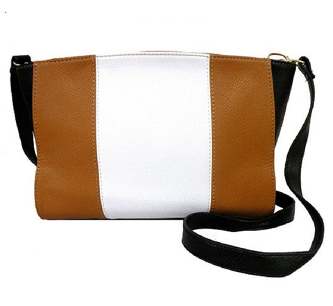 Color Block White and Brown Fashion Messenger  Cross - Body Bag