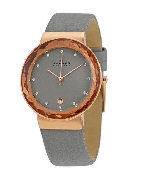 Grey Leather Women's Skagen Watch with Rose Gold Case.
