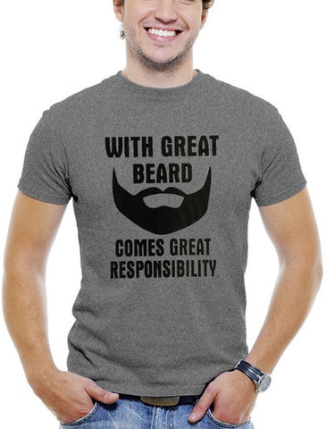 "Grey Men's Cotton T-Shirt ""With Great Beard Come Great Responsibility"""