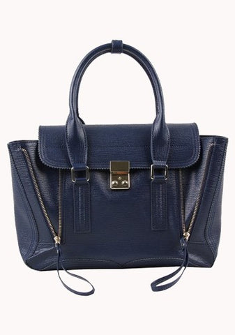 Goldie Large Leather Bag Blue