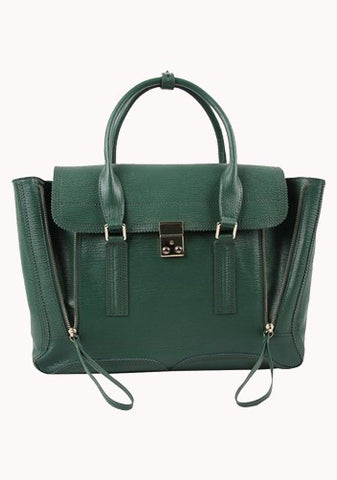 Goldie Large Leather Bag Green