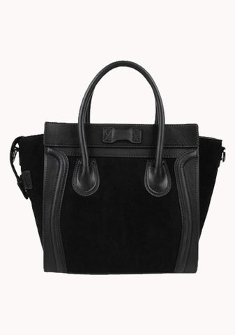 Vanessa Medium Tote In Suede Leather Black