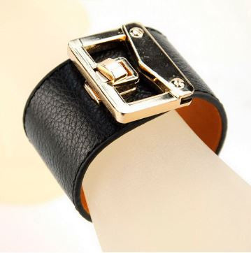 Wide Leather Bracelet Wristband Black