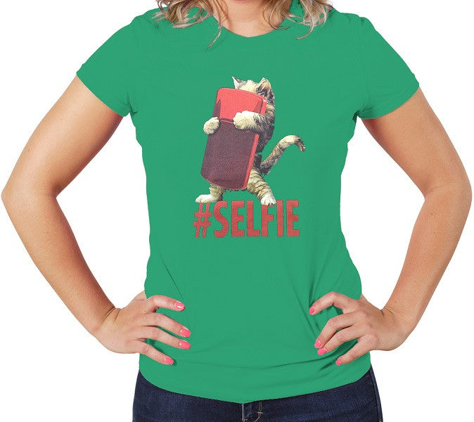 Green Cute Women's T-shirt Cat Selfie