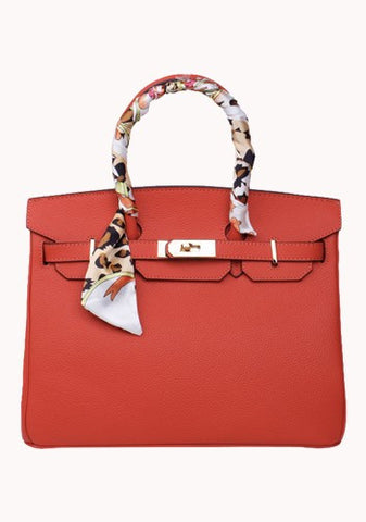 Jane Red Leather Handbag with Scarf