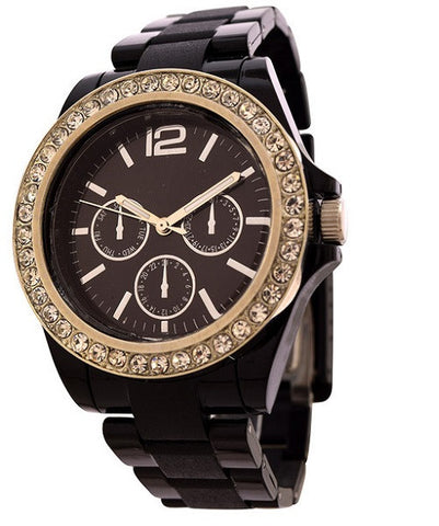 Black Crystal Accents Women's Fashion Watch FMD by Fossil