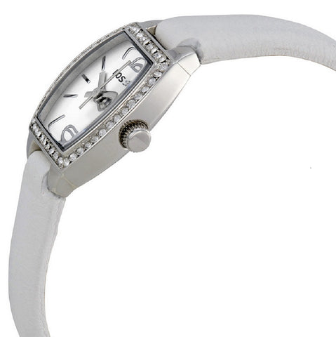 FOSSIL® Women's Casual Classic Scratch Resistant White Strap Watch - side