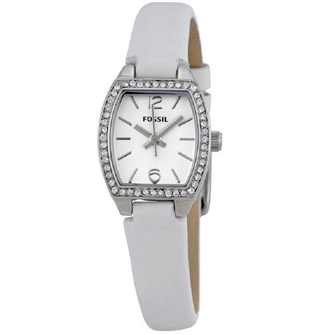 FOSSIL® Women's Casual Classic Scratch Resistant White Strap Watch - front