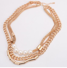 Snakeskin Shape Gold Plated Necklace with Pearl
