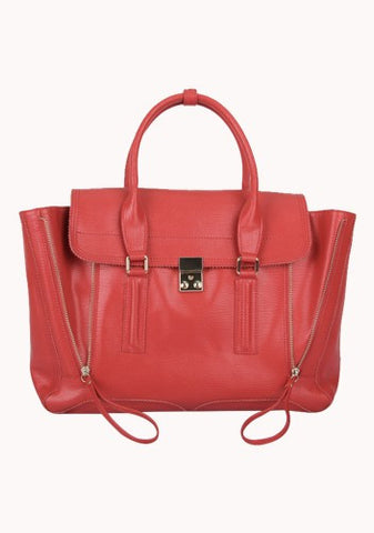 Goldie Large Leather Bag Red