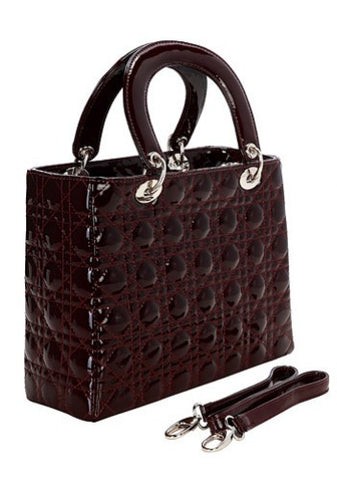 Grace Burgundy Leather Handbag with detachable stipe
