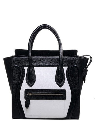 Vanessa Leather Tote Black And White