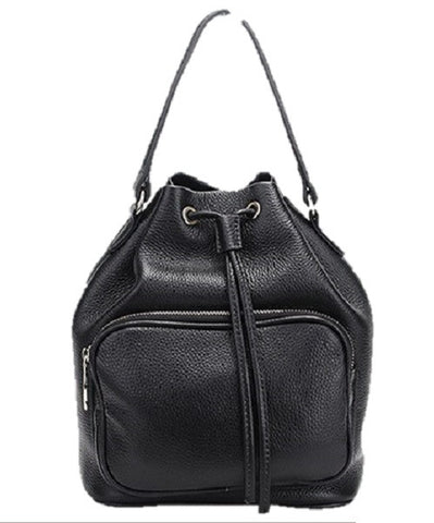 Melody Leather Bucket Bag Black Drastring Top