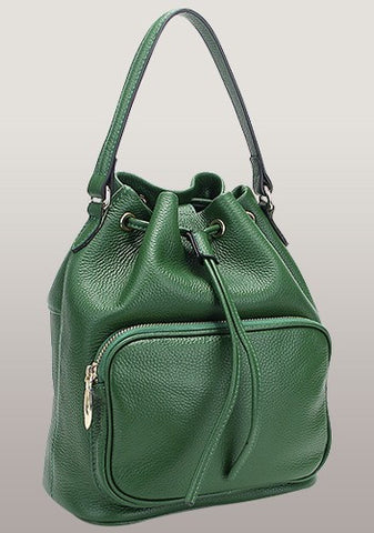 Melody Leather Bucket Bag Green Drastring Top