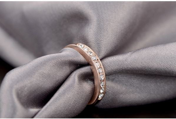 Women's gold plated ring with crystals