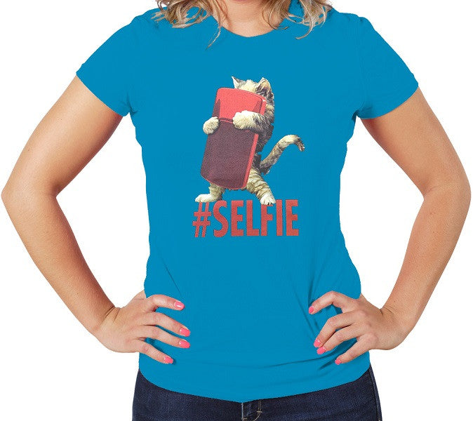 Blue Cute Women's T-shirt Cat Selfie