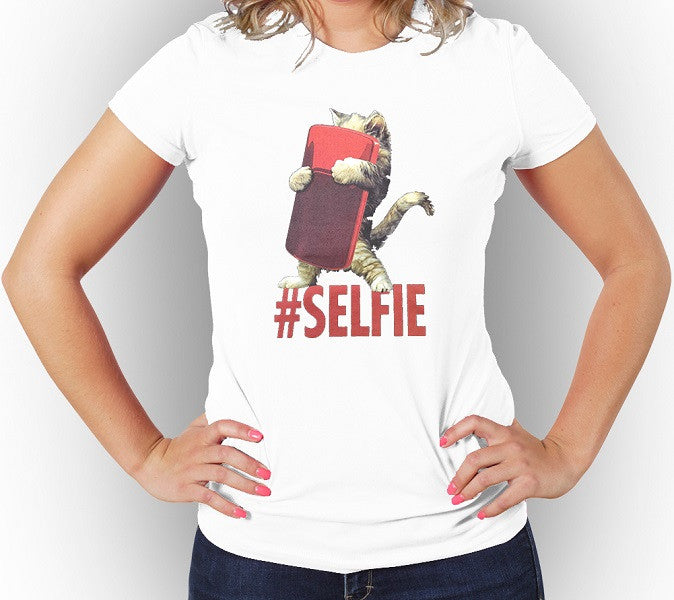 White Cute Women's T-shirt Cat Selfie