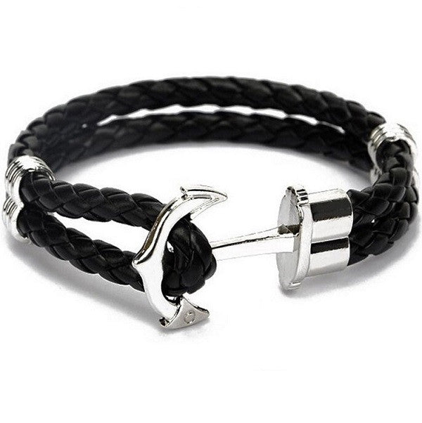 black leather bracelet with silver clasp