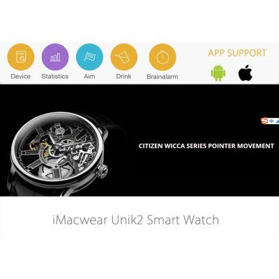 iMacwear Unik2 Bluetooth Smart Watch Waterproof Anti-Sweat Anti-Crack (Black)