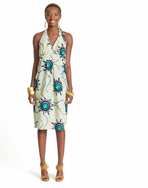 HALTER DRESS IN WAX PRINT