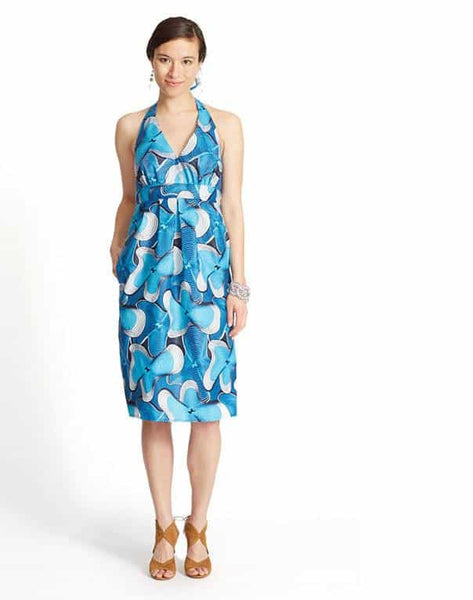 HALTER DRESS IN FANCY PRINT