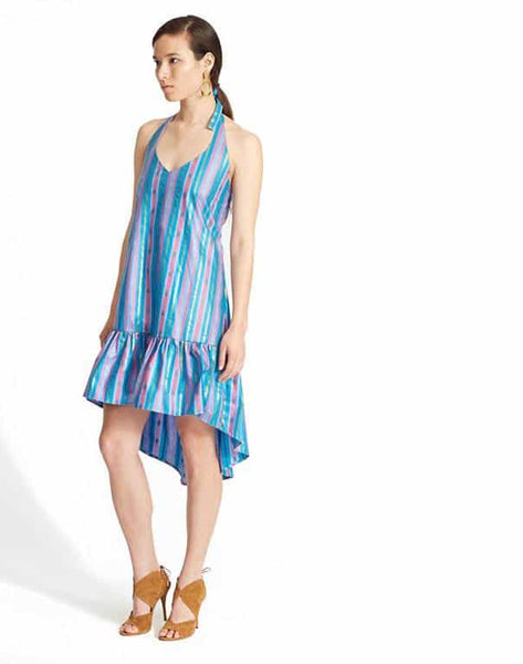 HI-LO HALTER DRESS IN JAVA