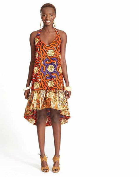 HI-LO HALTER DRESS IN WAX PRINT