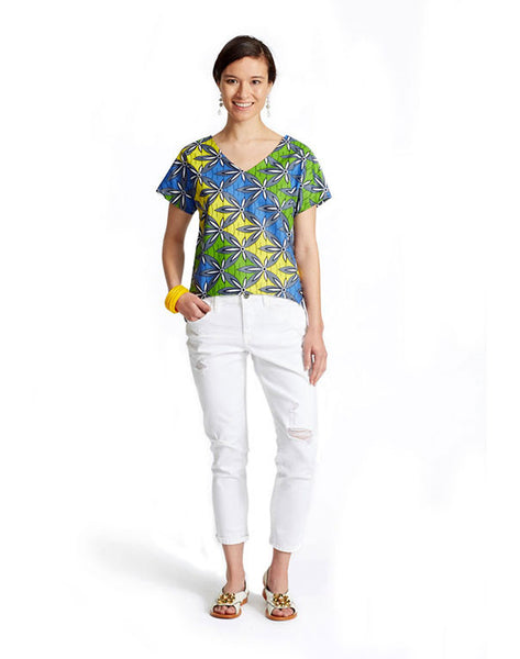 HI-LO POPOVER IN FANCY PRINT