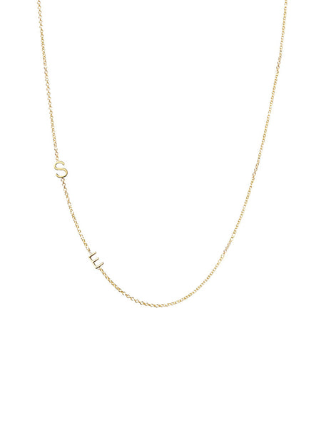 Solid Gold 2 Initial Necklace
