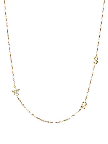 2 Initial with Diamond Star Necklace