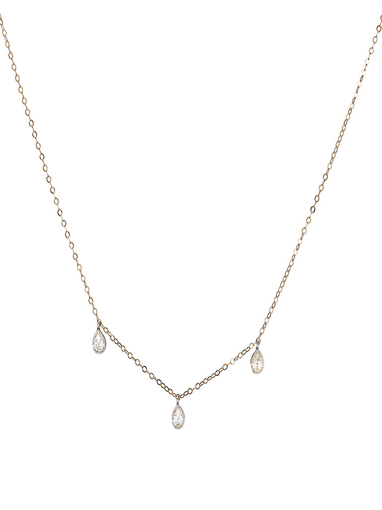 3 Diamond Drop Necklace With Adjustable Chain