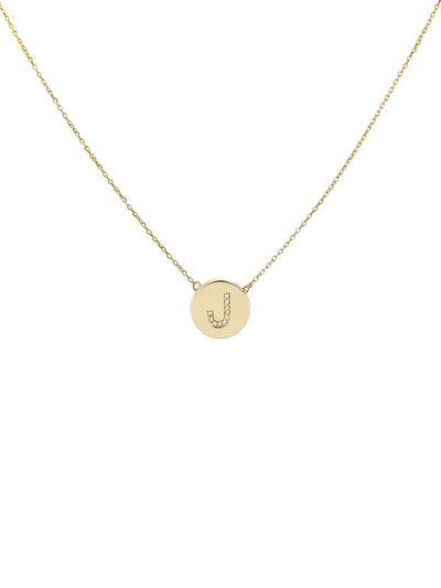 Large Gold Disc With Diamond Initial Necklace