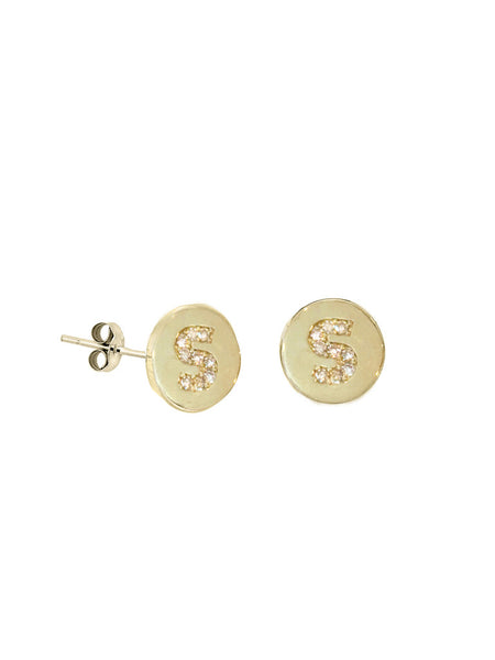 Mini Diamond Initial Disc Stud Earring
