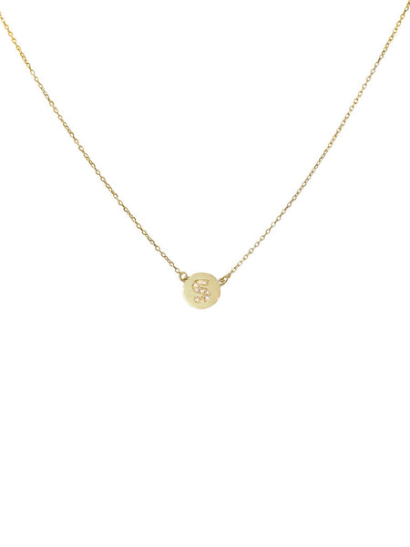 Mini Gold Disc With Diamond Initial Necklace