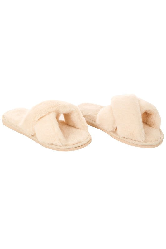 Faux Fur Slippers Cream