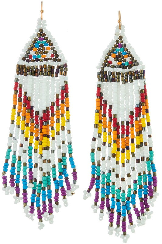 Festival Beaded Fringe Earrings